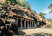 Front view of Elephanta Caves